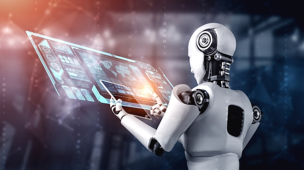 Roboter-humanoid, der tablet-computer für big-data-analyse unter verwendung des ki-denkenden gehirns verwendet
