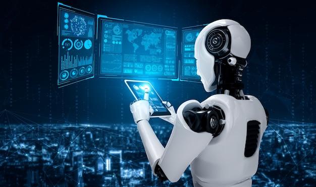 Roboter-humanoid, der tablet-computer für big-data-analyse verwendet