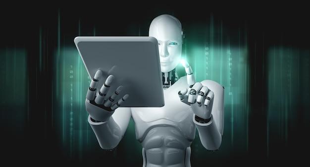 Roboter-humanoid, der tablet-computer im zukünftigen büro verwendet, während ki denkendes gehirn verwendet