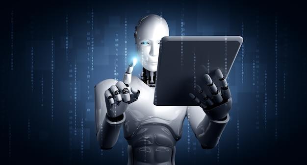 Roboter-humanoid, der tablet-computer im zukünftigen büro verwendet