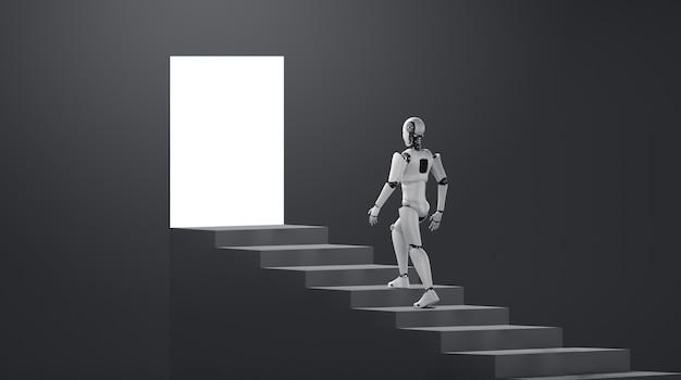 Roboter-humanoid gehen die treppe zum erfolg und zur zielerreichung hinauf