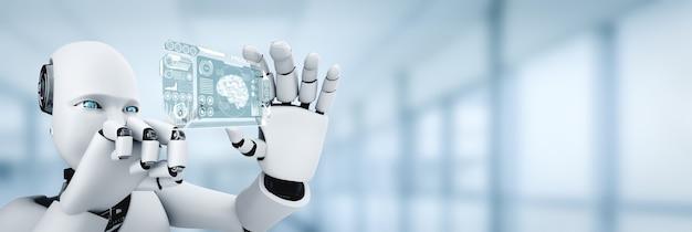 Roboter humanoid halten hud hologramm bildschirm im konzept des ki denkenden gehirns