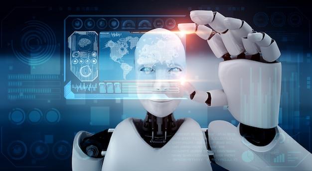 Roboter humanoid halten hud hologramm bildschirm