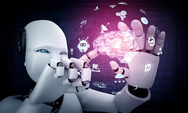 Roboter-humanoid halten hud-hologrammbildschirm im konzept des ki-denkenden gehirns