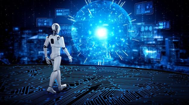 Roboter-humanoid in der science-fiction-fantasiewelt