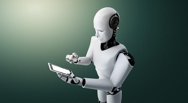 Roboter humanoid mit einem telefon