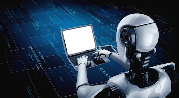 Roboter humanoid mit laptop