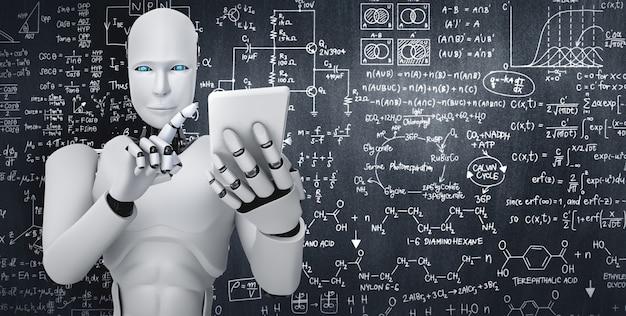 Roboter humanoid verwenden handy oder tablet für das studium der ingenieurwissenschaften