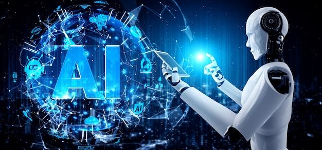 Roboter humanoid verwenden handy oder tablet im konzept des ki denkenden gehirns