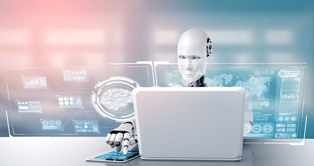 Roboter-humanoid verwenden laptop und sitzen am tisch für big-data-analysen
