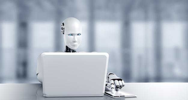Roboter humanoid verwenden laptop und sitzen am tisch im zukünftigen büro