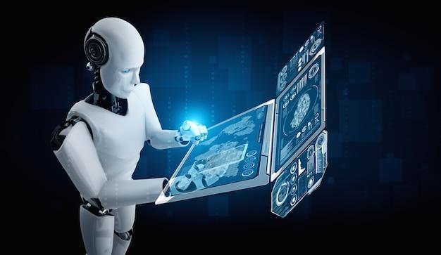 Roboter-humanoid verwenden mobiltelefon oder tablet für die analyse großer datenmengen