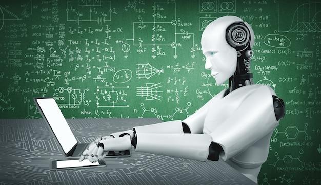 Roboter-humanoide verwenden laptop und sitzen am tisch für das studium der ingenieurwissenschaften