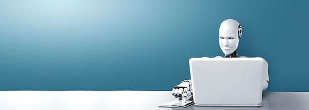Roboter-humanoide verwenden laptop und sitzen im zukünftigen büro am tisch