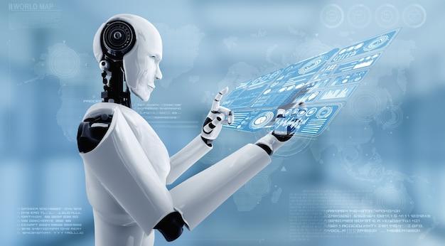 Roboter-humanoide verwenden mobiltelefone oder tablets für big-data-analysen