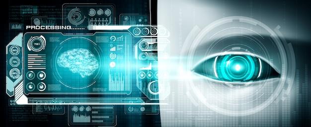 Roboter humanoides gesicht nah mit grafischem konzept der big-data-analyse