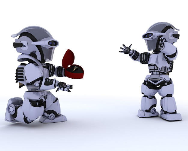 Roboter macht einen heiratsantrag an einen anderen roboter