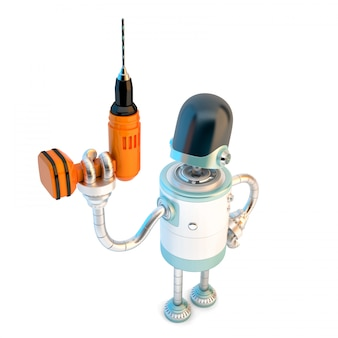 Roboter mit bohrer.