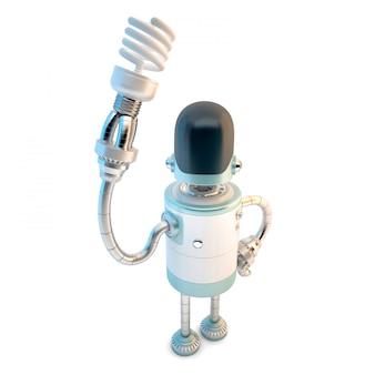 Roboter mit energiesparender glühlampe. 3d-darstellung. enthält beschneidungspfad