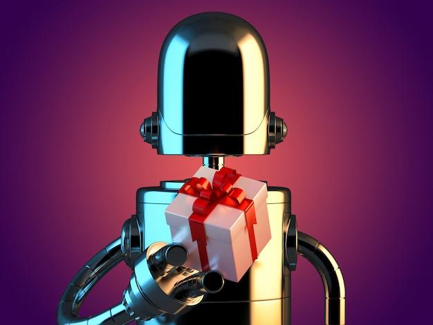 Roboter mit geschenkbox. 3d-darstellung. enthält beschneidungspfad