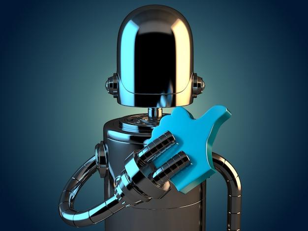 Roboter mit like-symbol. 3d-darstellung. enthält beschneidungspfad