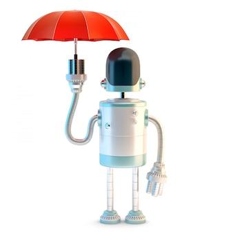 Roboter mit regenschirm. 3d-darstellung. enthält beschneidungspfad