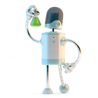 Roboter mit testflasche. technologie-forschungskonzept. 3d-darstellung. enthält ausschnitt pat