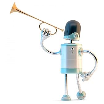 Roboter mit trompete. 3d-darstellung. enthält beschneidungspfad.