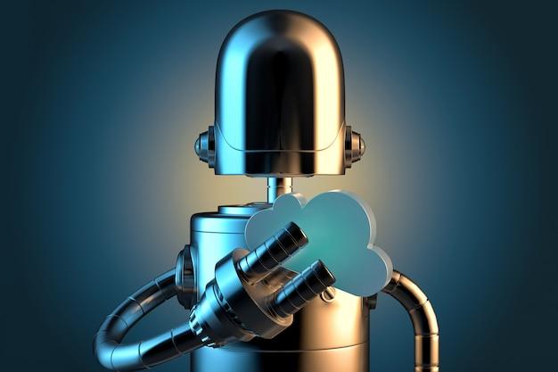 Roboter mit wolkensymbol. cloud-technologie-konzept