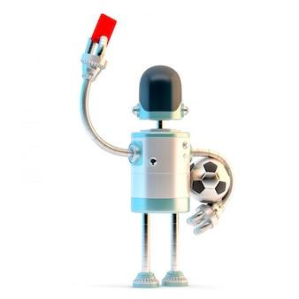 Roboter-schiedsrichter, der die rote karte zeigt.