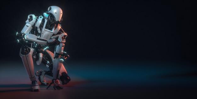 Roboter sind im studioraum mit copyspace