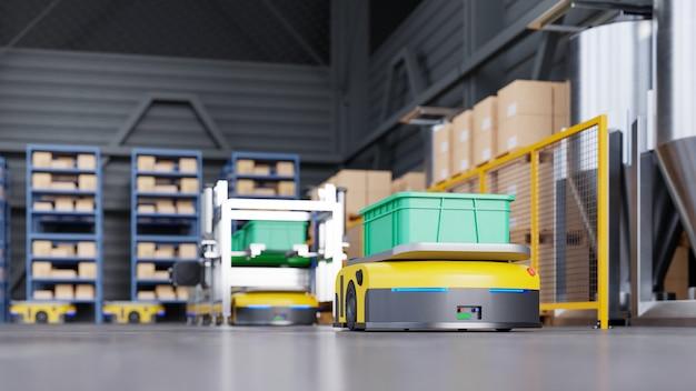 Roboter sortieren effizient hunderte von paketen pro stunde (automated guided vehicle) agv.3d-rendering