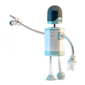 Roboter zeigt weg. 3d-darstellung