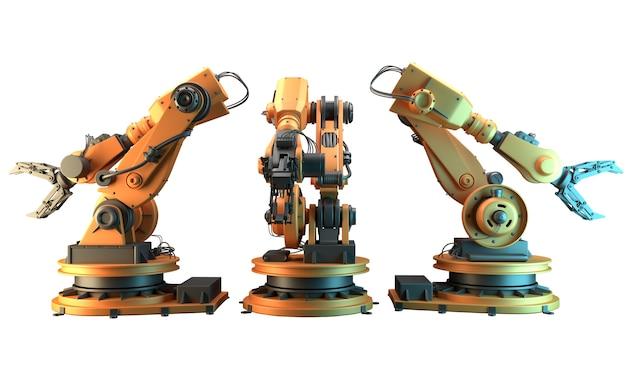 Roboterarm auf weißem hintergrund. 3d-rendering