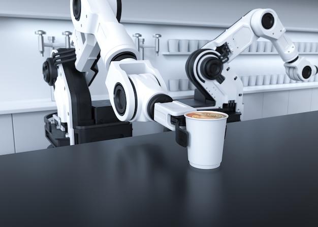 Roboterarm, der kaffee serviert