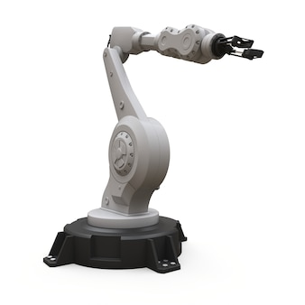 Roboterarm für jede arbeit in einer fabrik oder produktion. mechatronische ausrüstung für komplexe aufgaben. 3d-rendering.