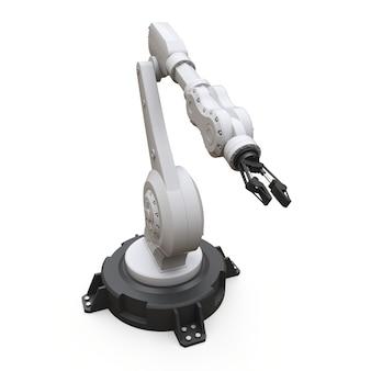 Roboterarm für jede arbeit in einer fabrik oder produktion. mechatronische ausrüstung für komplexe aufgaben