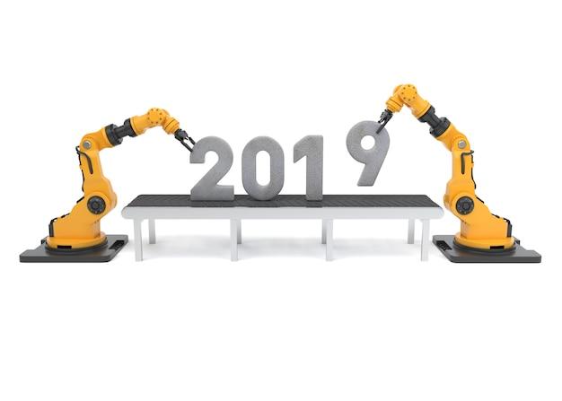 Roboterarm mit 2019 neujahr