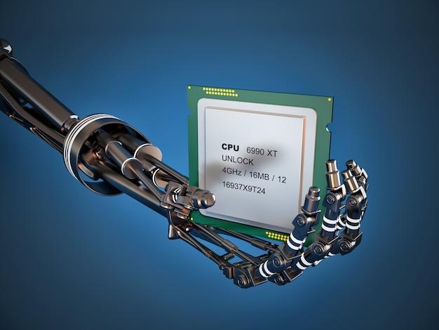 Roboterarm mit chip oder prozessor. hohe technologie
