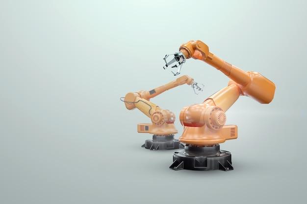 Roboterarmmanipulator im werk. industrielle automatisierungstechnik. iot technologiekonzept, smart factory. digitaler fertigungsbetrieb. 3d-rendering, 3d-illustration.