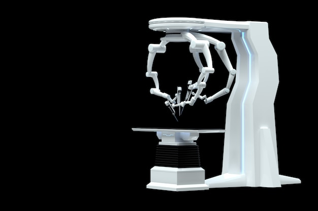 Roboterchirurg, roboterausrüstung, manipulatoren isoliert auf einer dunklen wand. technologien, zukunft der medizin, chirurgie. 3d-rendering, 3d-illustration.