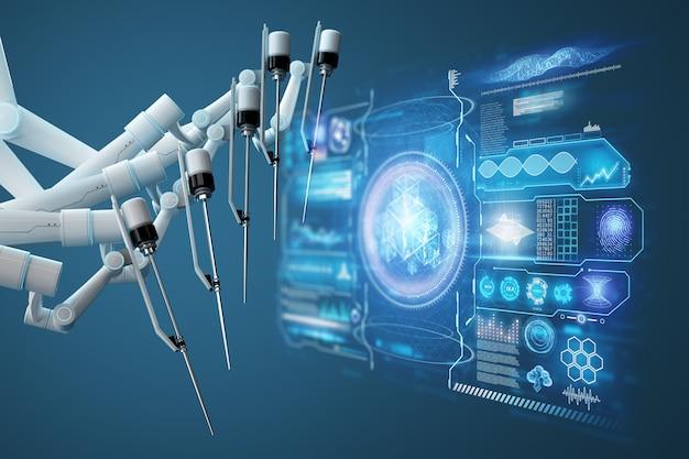 Roboterchirurg, roboterausrüstung, manipulatoren. minimalinvasive chirurgische innovation mit dreidimensionaler übersicht. technologie, die zukunft der medizin, chirurg. 3d-rendering, 3d-illustration.