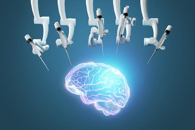 Roboterchirurg und hologramm des menschlichen gehirns. medizinische geräte für die neurochirurgie. moderne medizin, technologie. 3d-rendering, 3d-darstellung.