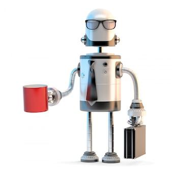 Robotergeschäftsmann in der klage und in brillen, die tasse kaffee halten