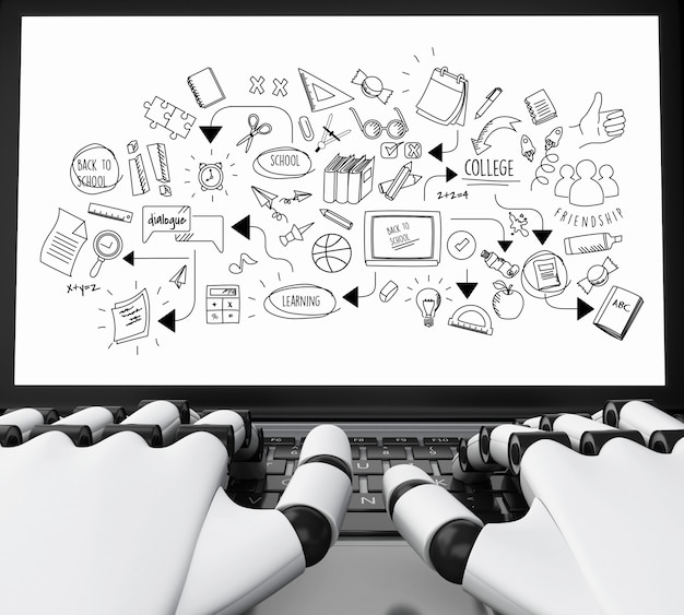 Roboterhände 3d, die auf einem laptop mit bildungsskizze schreiben