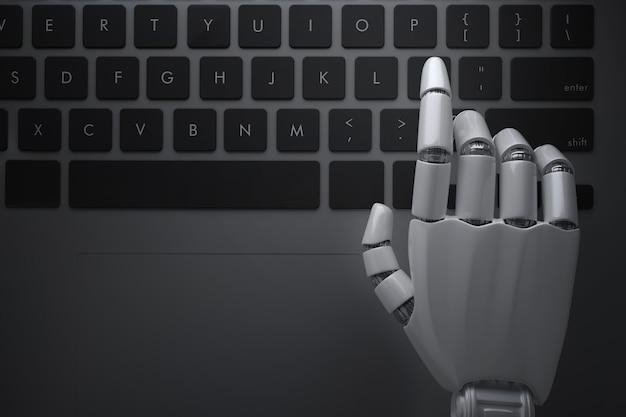 Roboterhände hängen über der computertastatur. 3d-illustration