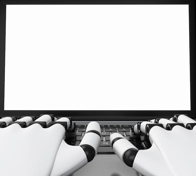 Roboterhand 3d, die auf einem laptop mit weißem schirm schreibt.