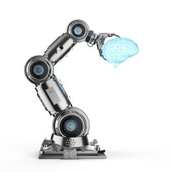 Roboterhand der wiedergabe 3d, die glänzendes gehirn hält