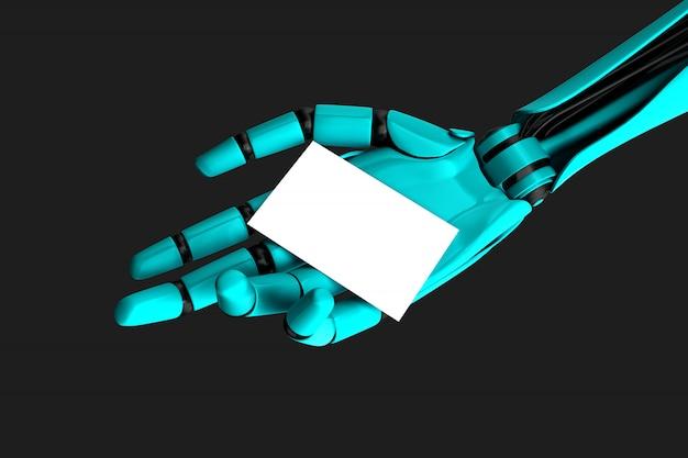 Roboterhand, die eine leere visitenkarte hält