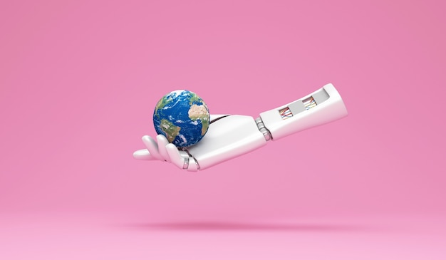 Roboterhand, die miniatur-erdplaneten auf rosa studiohintergrund hält